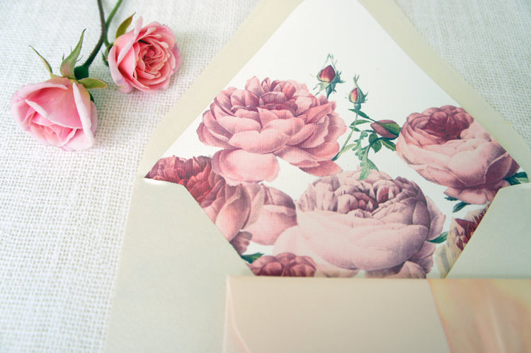 Antique Rose Wedding suite in pink and red | Stationery by Honey Paper | Wedding in Montecito California | Rose Envelope Liner