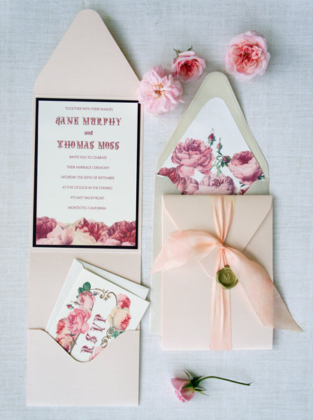 Antique Rose Wedding suite in pink and red | Stationery by Honey Paper | Wedding in Montecito California