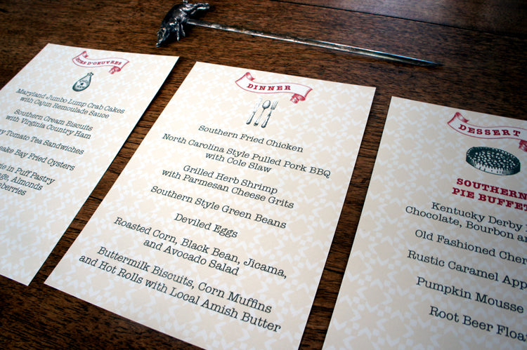 Shenandoah valley wedding Menus