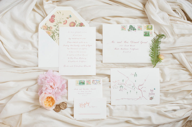 Summer Wedding Invitation in Pink and Peach