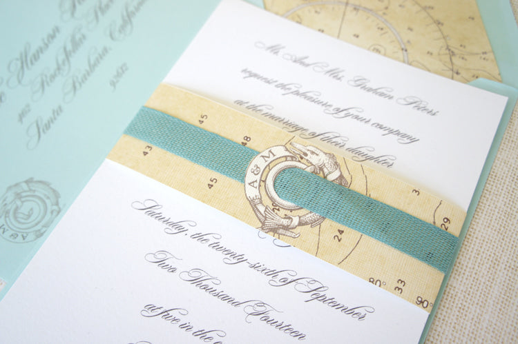 Nautical Invitation | Stationery by Honey Paper | Turquoise