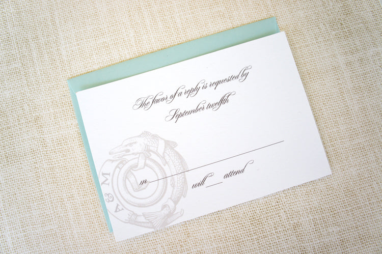 Nautical Invitation Reply Card | Stationery by Honey Paper | Turquoise