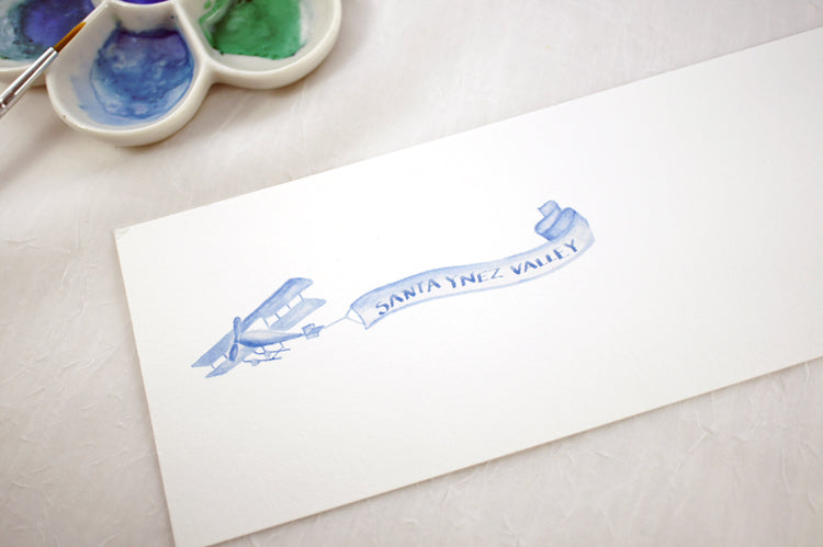 Honey Paper Custom Watercolor | Blue watercolor | Shop Local Santa Ynez Flyer