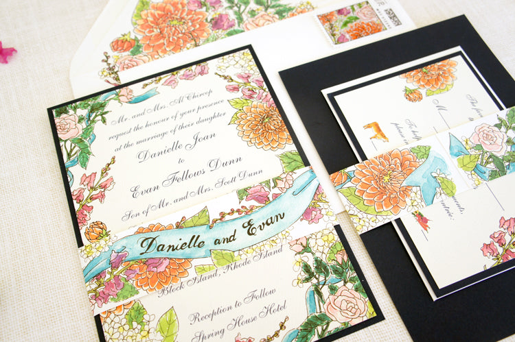 Watercolor wedding invitation suite | Collaboration with Honey Paper | Floral invitation with roses, zinnia and snapdragon design