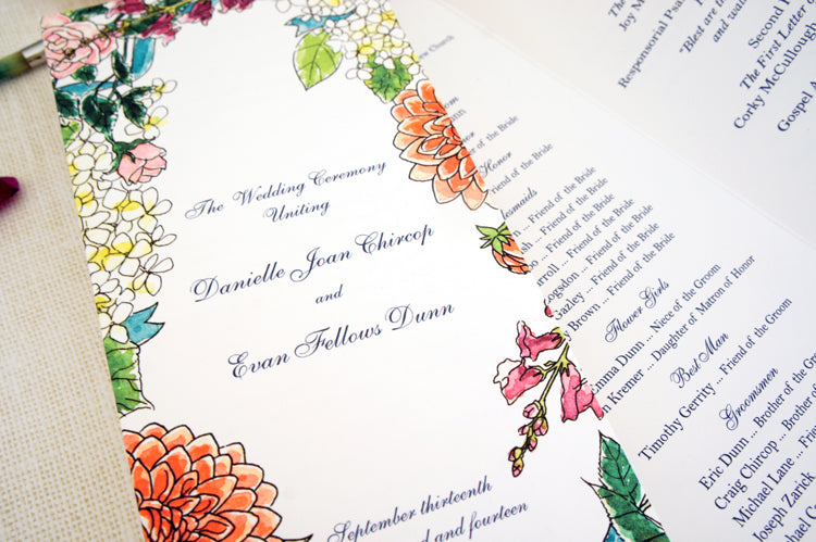 Watercolor wedding invitation suite | Collaboration with Honey Paper | Floral invitation with roses, zinnia and snapdragon design | Day of Program details