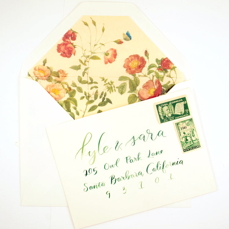 Envelope with green calligraphy by Sophia Loves Letters for Honey Paper