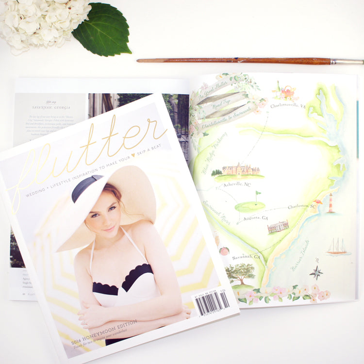 Flutter Magazine featuring Honey Paper custom illustrated map