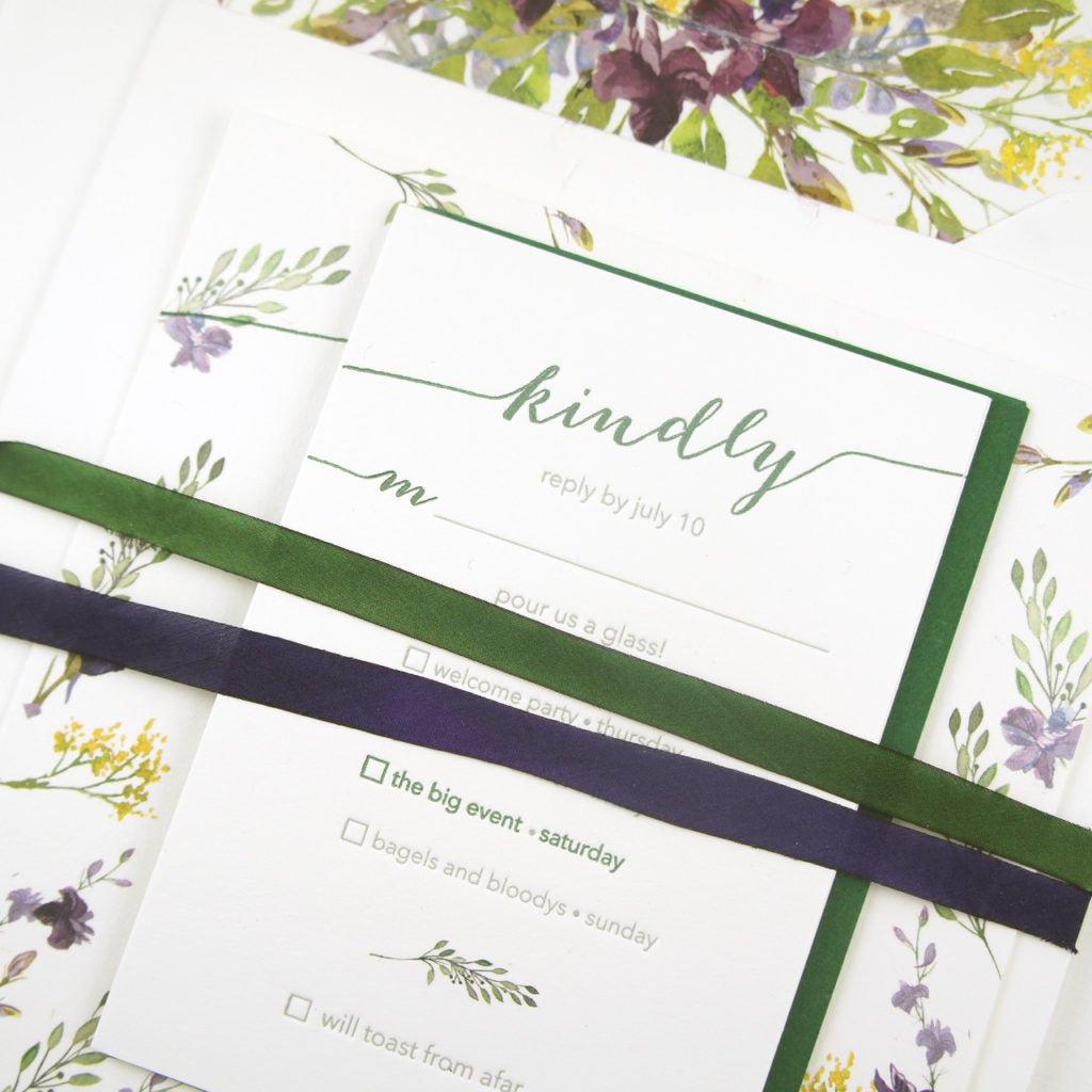 Sawtooth Mountain Watercolor Invitation Detail