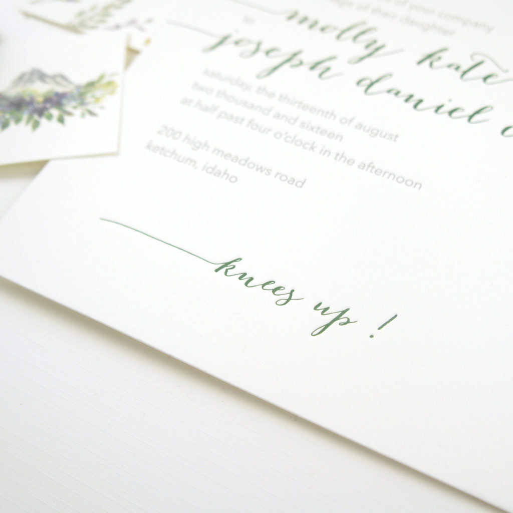 Sun Valley Idaho wedding stationery suite featuring illustrations of Sawtooth mountains