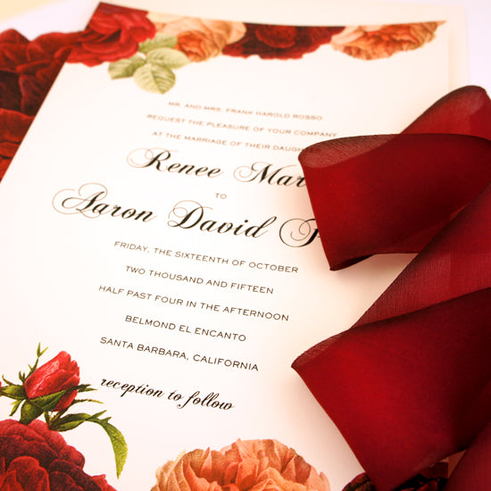 Luxe Deep Red Rose Custom Invitation by @HoneyPaper