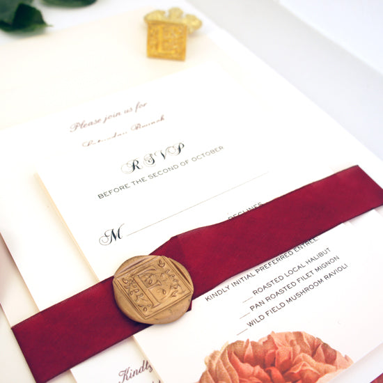 rose invitation with wax seal