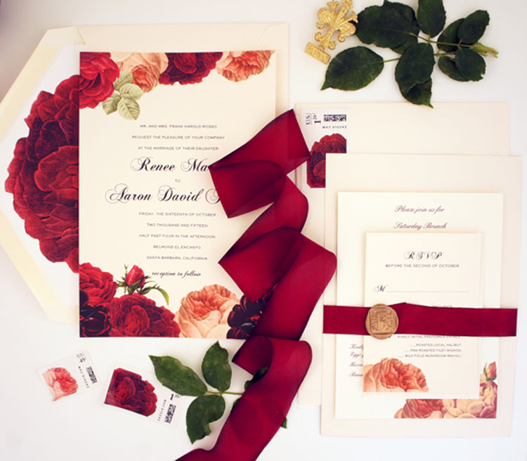 Outdoor Fall Wedding | Custom Wedding Invitations by @honeypaper