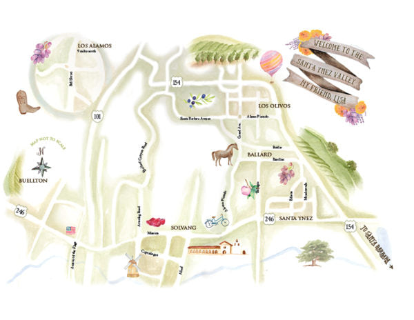Hand illustrated map of Santa Ynez Valley with local highlights for event guests