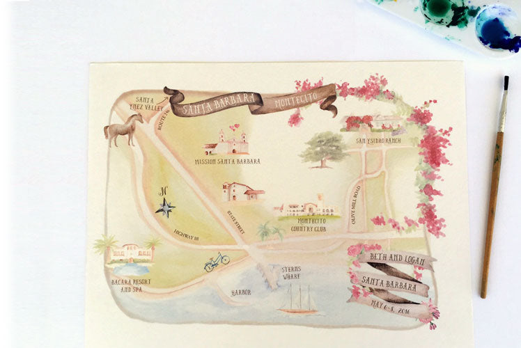 Hand Illustrated wedding map for destination wedding