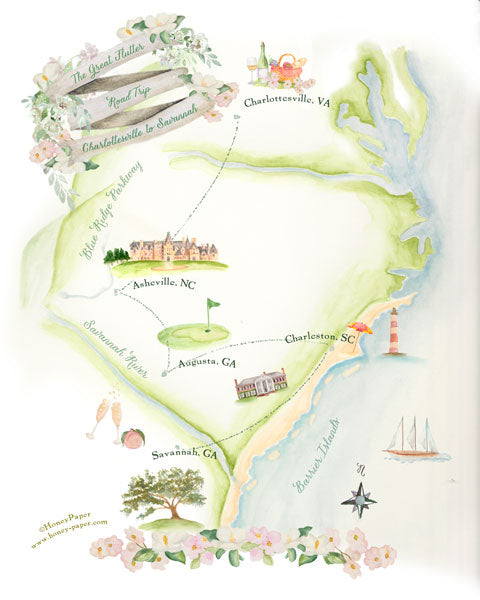 Hand illustrated road trip map for Flutter magazine