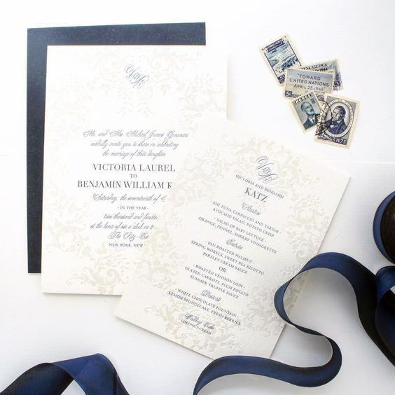 Santa Barbara Club Wedding | Custom Invitations @honeypaper Navy and Cream Wedding Suite