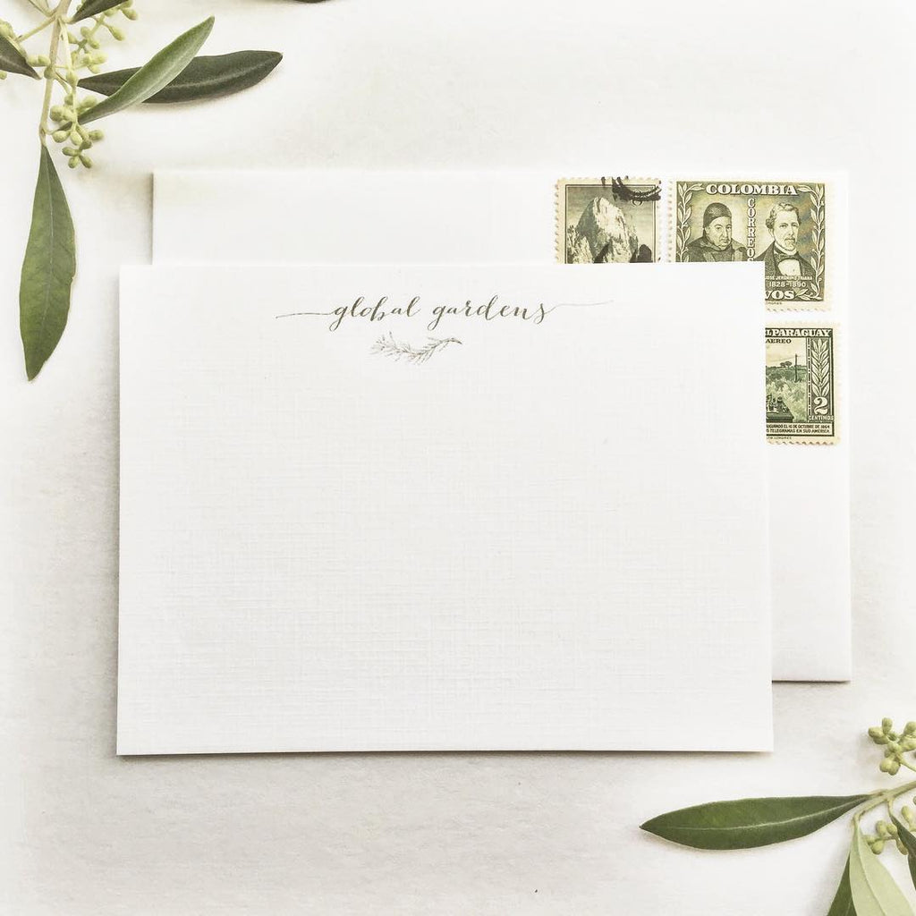 greenery leaf motif for personal stationery
