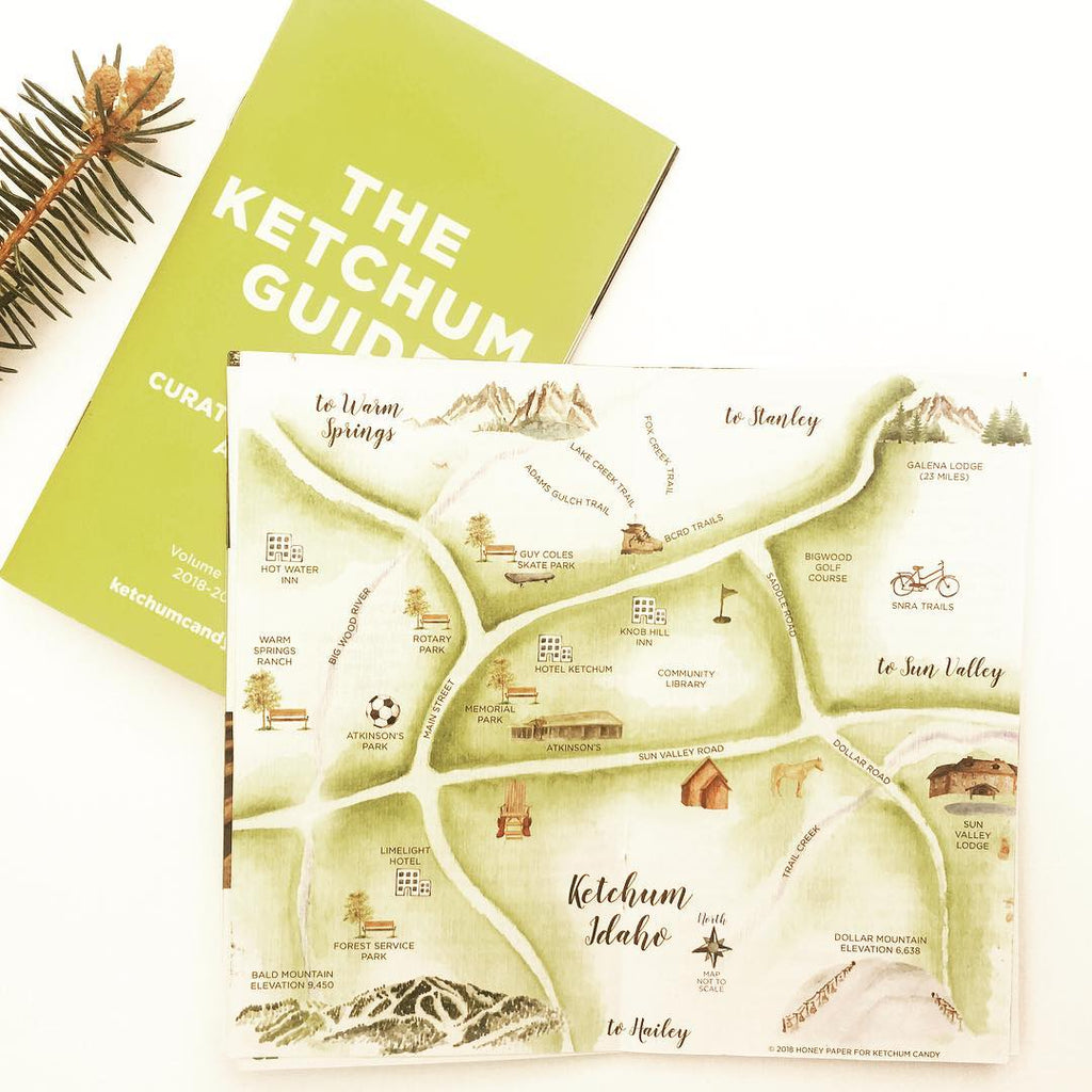 Ketchum Guide with custom map by Honey Paper
