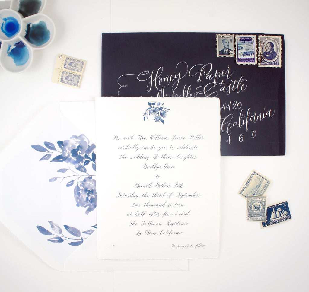 blue watercolor suite with modern calligraphy