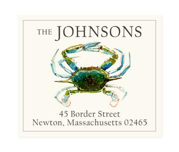 Custom Address Stickers - Blue Crab
