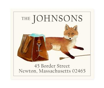 Custom Address Stickers - Fox and Bag