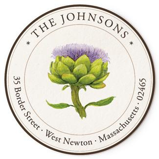 Custom Address Stickers - Artichoke Flower (2 Styles Available)
