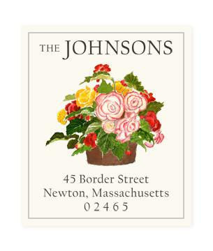 Custom Address Stickers - Begonia Bouquet