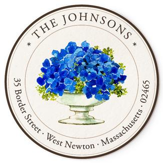 Custom Address Stickers - Blue Hydrangeas