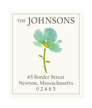 Custom Address Stickers - Blue Petals