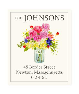 Custom Address Stickers - Flowers in Glass Jar