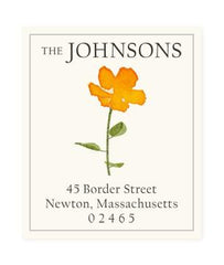 Custom Address Stickers - Orange Petals