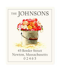 Custom Address Stickers - Pail of Roses