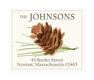 Custom Address Stickers - Pine Cone