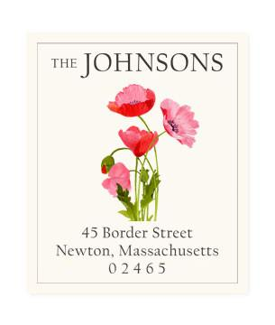 Custom Address Stickers - Pink Poppies (2 Styles Available)