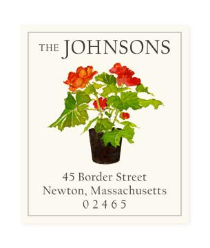 Custom Address Stickers - Red Begonia