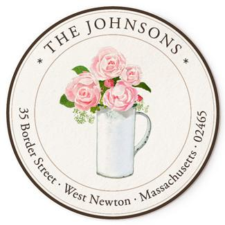 Custom Address Stickers - Roses in White