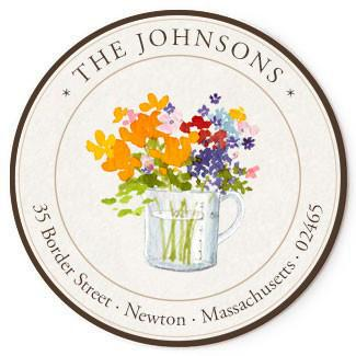 Custom Address Stickers - Flowers in Measuring Cup (2 Styles Available)