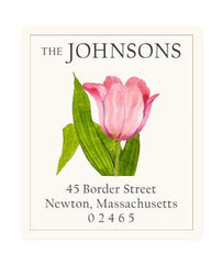 Custom Address Stickers - Pink Tulip