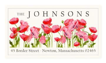 Custom Address Stickers - Poppies