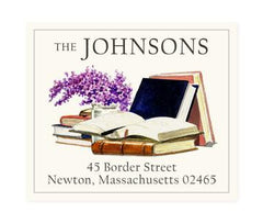 Custom Address Stickers - Books and Lilacs