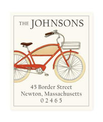 Custom Address Stickers - Red Bicycle