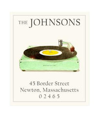 Custom Address Stickers - Retro Record Player