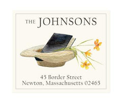 Custom Address Stickers - Straw Hat and Book