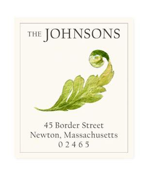 Custom Address Stickers - Green Leaf Motif