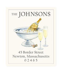 Custom Address Stickers - Champagne and Flutes