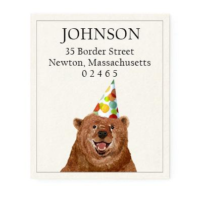 Custom Address Stickers - Party Bear
