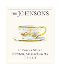 Custom Address Stickers - Gold Rim Teacup