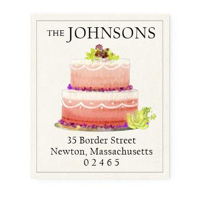 Custom Address Stickers - Pink Tiered Cake