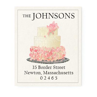 Custom Address Stickers - Rose Tiered Cake