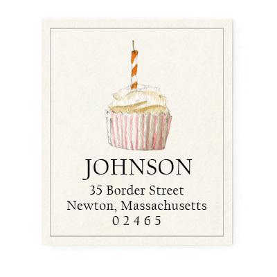 Custom Address Stickers - Swirl Cupcake
